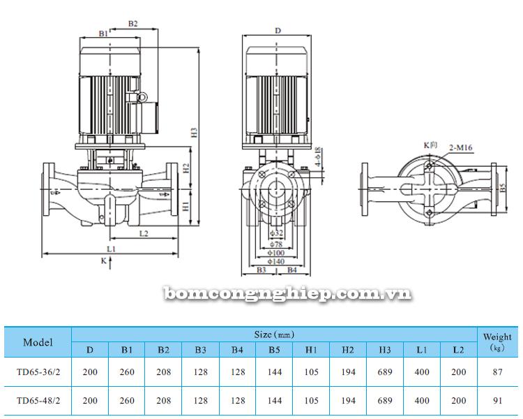 Máy bơm nước trục đứng CNP TD 65 bảng thông số kích thước