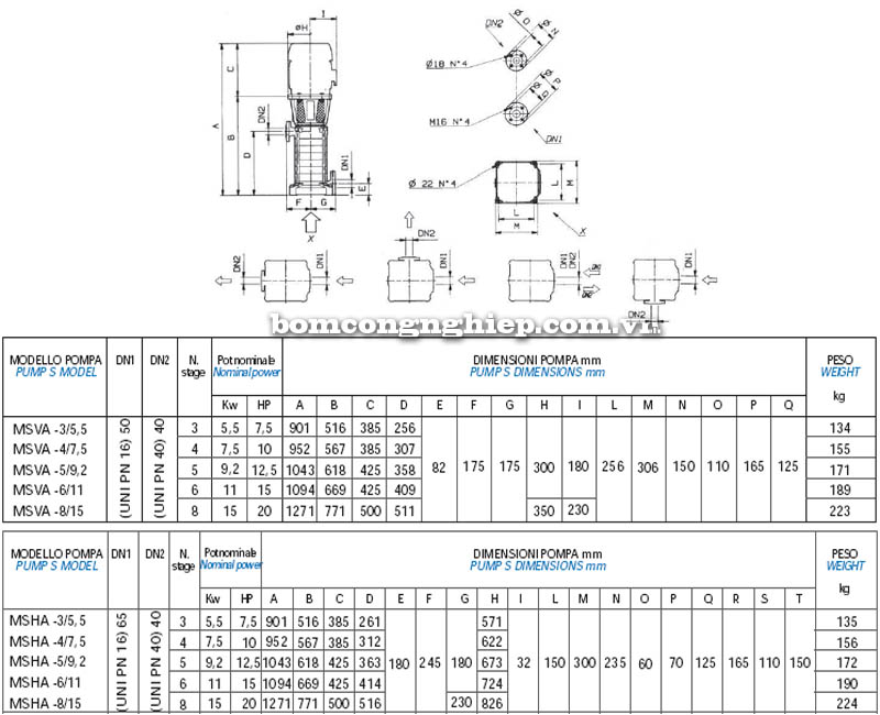 Máy bơm nước trục đứng Matra MS-A bảng thông số kích thước