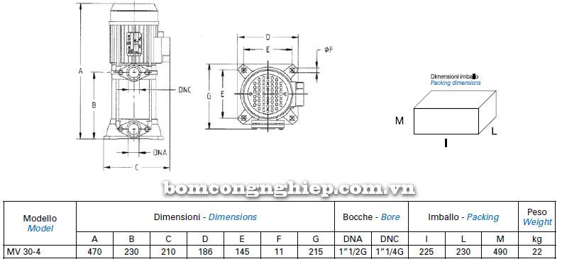 Máy bơm nước trục đứng Matra MV 30-4 bảng thông số kích thước