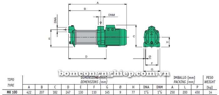 Máy bơm nước trục ngang Sealand MK 100 bảng thông số kích thước