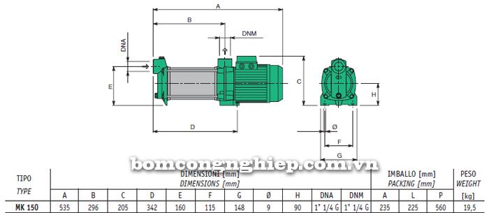 Máy bơm nước trục ngang Sealand MK 150 bảng thông số kích thước