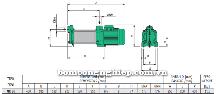 Máy bơm nước trục ngang Sealand MK 80 bảng thông số kích thước