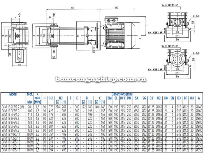 Máy bơm trục đứng Ebara EVM-18 bảng thông số kích thước