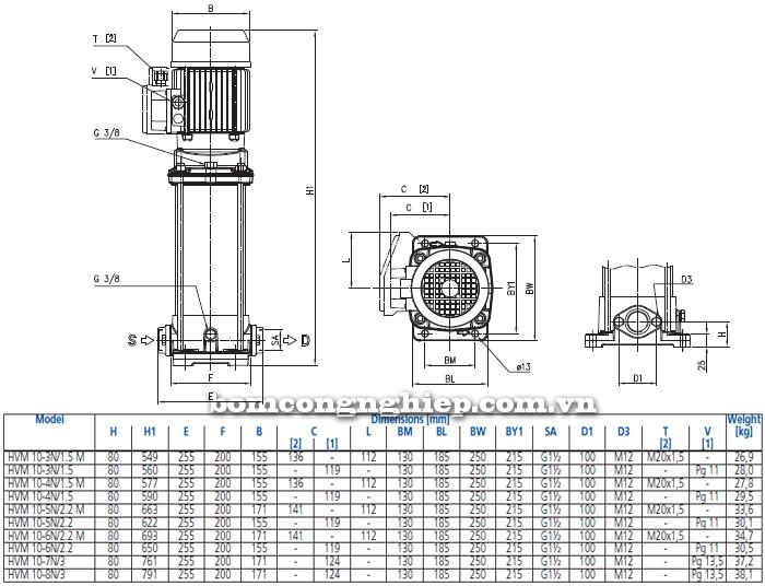 Máy bơm trục đứng Ebara HVM 10 bảng thông số kích thước