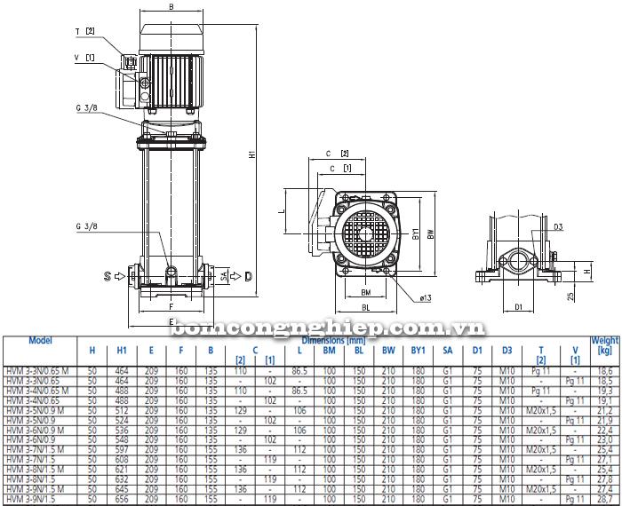Máy bơm trục đứng Ebara HVM 3 bảng thông số kích thước