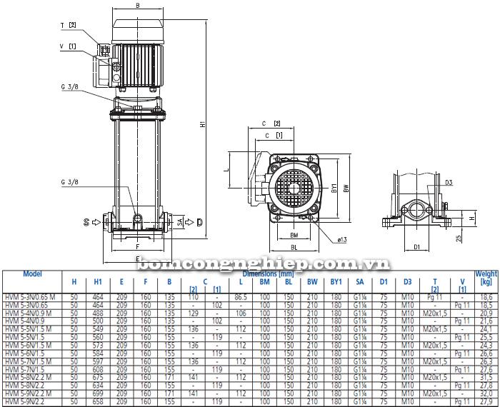 Máy bơm trục đứng Ebara HVM 5 bảng thông số kích thước