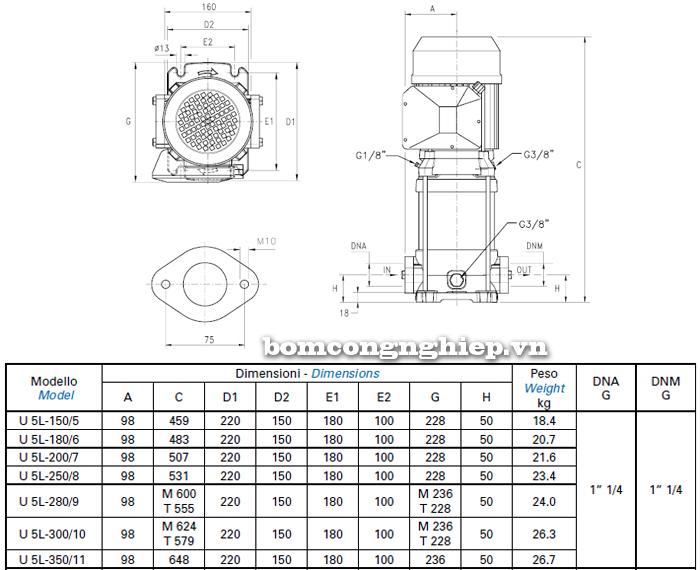 Máy bơm trục đứng Matra ULTRA 5V bảng thông số kích thước