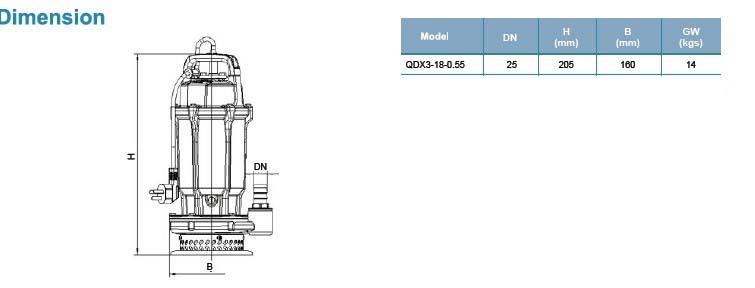 Máy bơm chìm LEO QDX3-18 bảng thông số kích thước