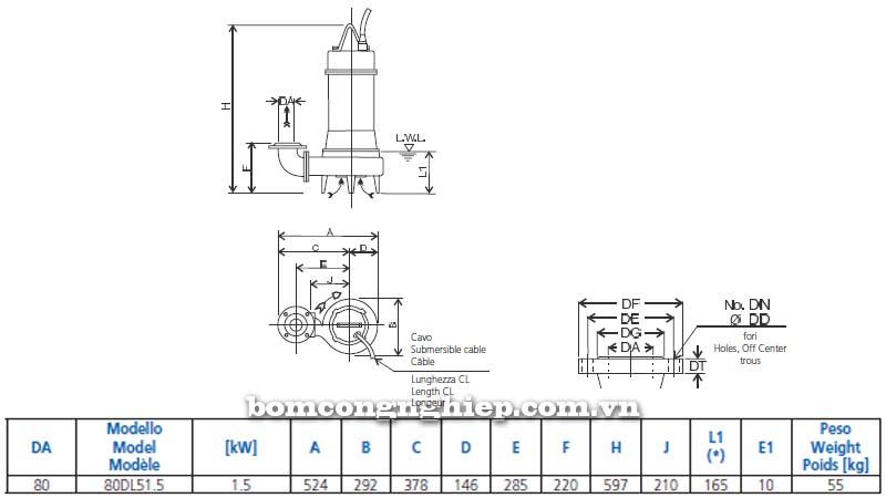Máy bơm chìm nước thải Ebara 80DL bảng thông số kích thước