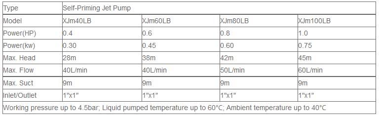 Máy bơm nước bán chân không LEO XJm100LB bảng thông số kỹ thuật