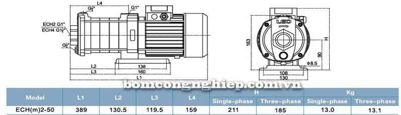 Máy bơm nước đa tầng cánh LEO ECH2-50 bảng thông số kỹ thuật bảng thông số kích thước