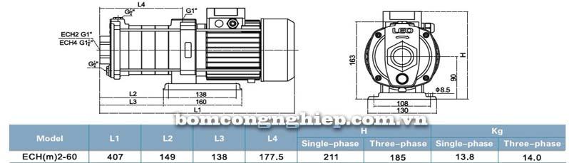 Máy bơm nước đa tầng cánh LEO ECH2-60 bảng thông số kích thước