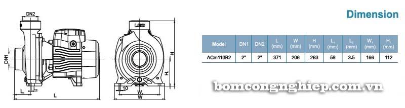 Máy bơm nước ly tâm LEO ACm110B2 bảng thông số kích thước