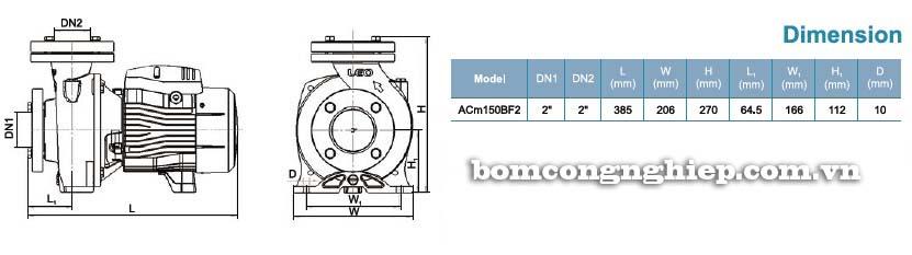 Máy bơm nước ly tâm LEO ACm150BF2 bảng thông số kích thước