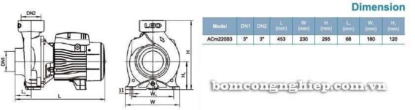 Máy bơm nước ly tâm LEO ACm220B3 bảng thông số kích thước