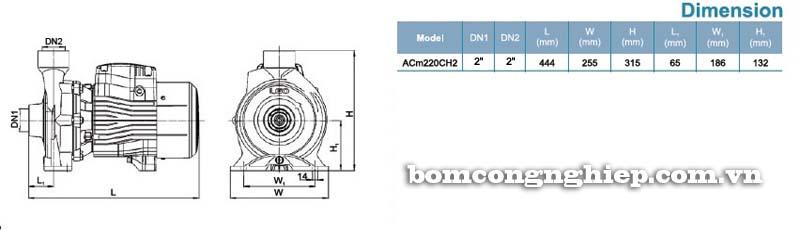Máy bơm nước ly tâm LEO ACm220C bảng thông số kích thước