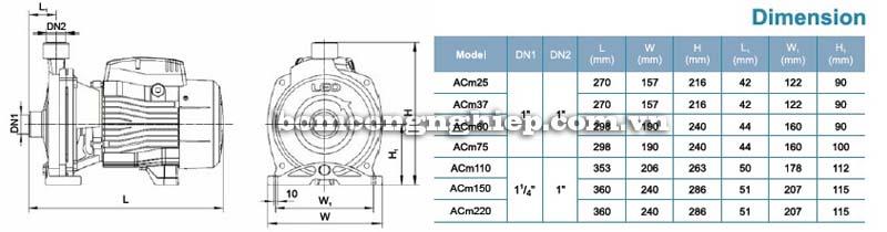 Máy bơm nước ly tâm LEO ACm37 bảng thông số kích thước