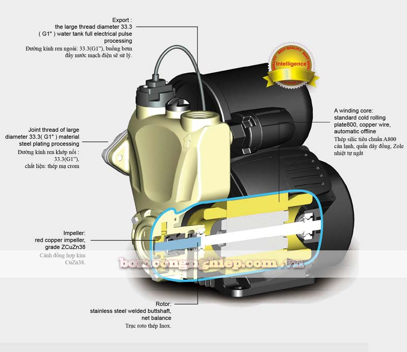 Máy bơm nước tăng áp Japan JLm90-1500A mô tả chung