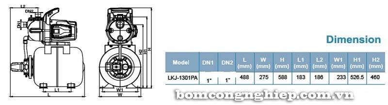 Máy bơm nước tăng áp LEO LKJ-1301PA bảng thông số kích thước