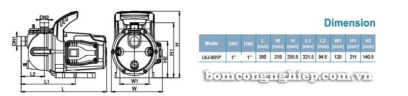Máy bơm nước tăng áp LEO LKJ-801P bảng thông số kích thước