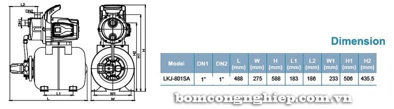 Máy bơm nước tăng áp LEO LKJ-801SA bảng thông số kích thước