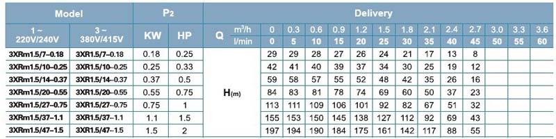 Máy bơm nước thả chìm LEO 3XR bảng thông số kỹ thuật