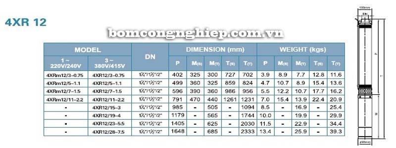 Máy bơm nước thả chìm LEO 4XR12 bảng thông số kích thước