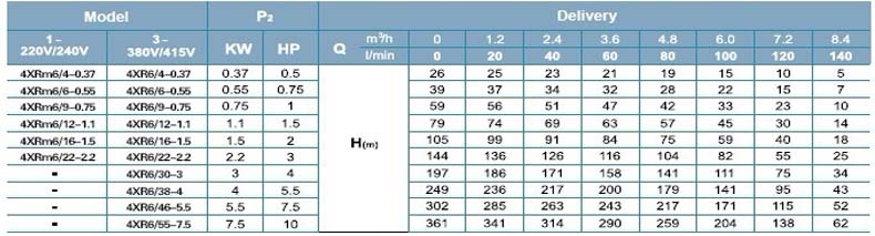 Máy bơm nước thả chìm LEO 4XR6 bảng thông số kỹ thuật