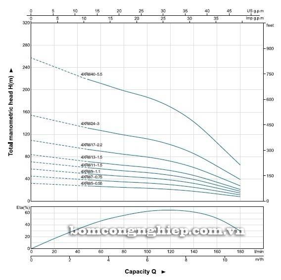 Máy bơm nước thả chìm LEO 4XR8 biểu đồ hoạt động