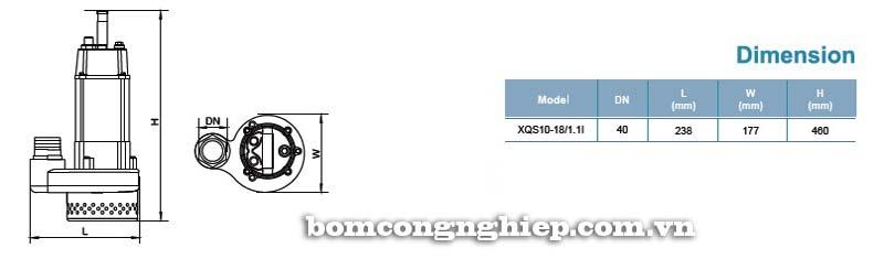 Máy bơm nước thải LEO XQS10-18 bảng thông số kích thước