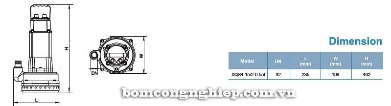 Máy bơm nước thải LEO XQS4-15 bảng thông số kích thước