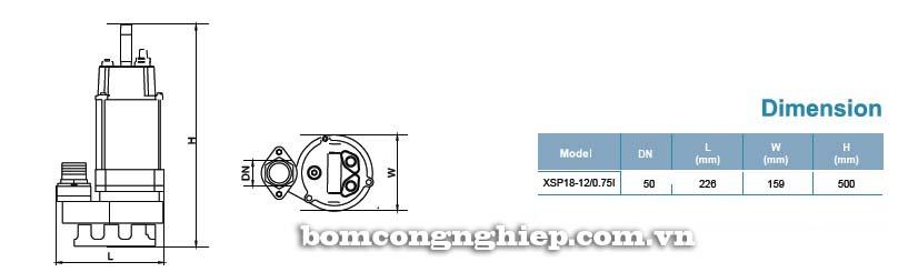 Máy bơm nước thải LEO XSP18 bảng thông số kích thước