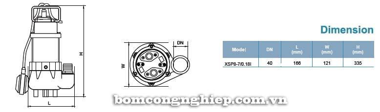 Máy bơm nước thải LEO XSP8-7 bảng thông số kích thước
