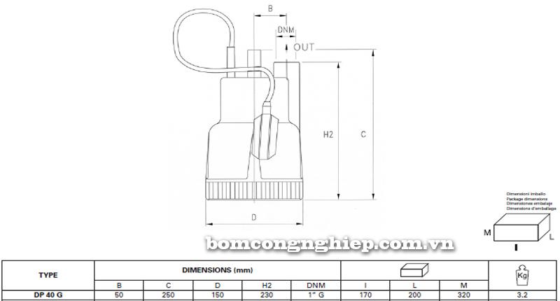 Máy bơm nước thải thả chìm Pentax DP40 bảng thông số kích thước