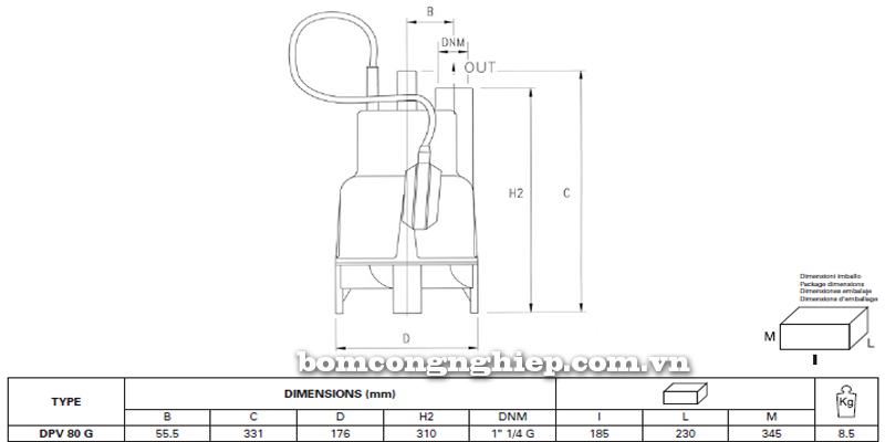 Máy bơm nước thải thả chìm Pentax DPV 80 bảng thông số kích thước