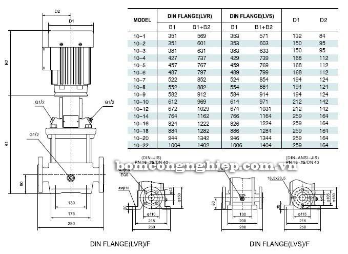 Máy bơm nước trục đứng LEO LVS10 bảng thông số kích thước