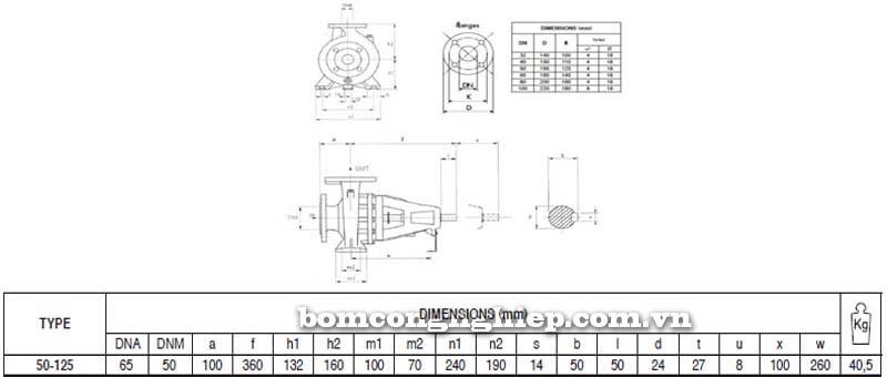Máy bơm nước trục rời Pentax CAX 50-125 bảng thông số kích thước