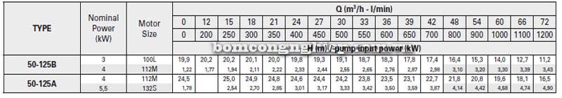 Máy bơm nước trục rời Pentax CAX 50-125 bảng thông số kỹ thuật