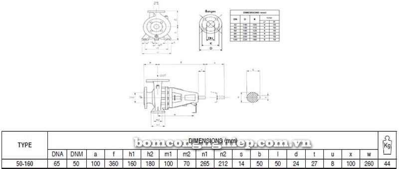 Máy bơm nước trục rời Pentax CAX 50-160 bảng thông số kích thước
