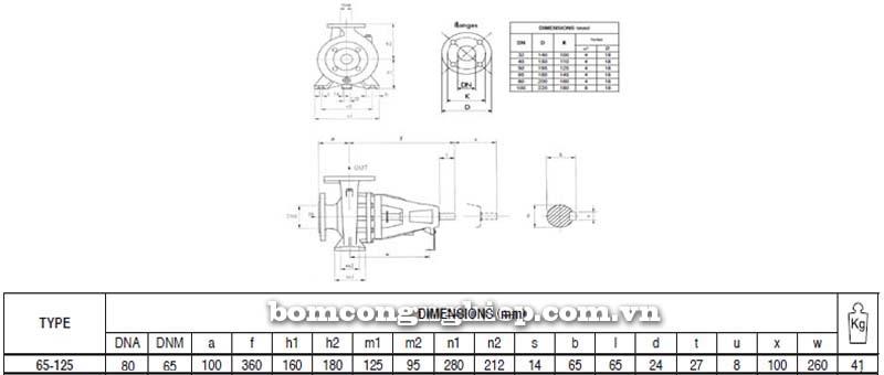 Máy bơm nước trục rời Pentax CAX 65-125 bảng thông số kích thước