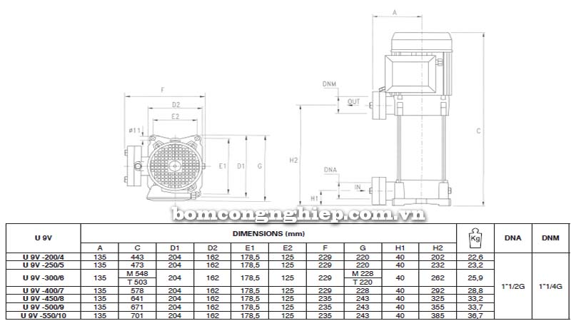 Máy bơm trục đứng Pentax 9V bảng thông số kích thước