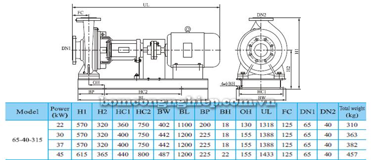 Máy bơm trục rời CNP NISO65-40-315 bảng thông số kích thước