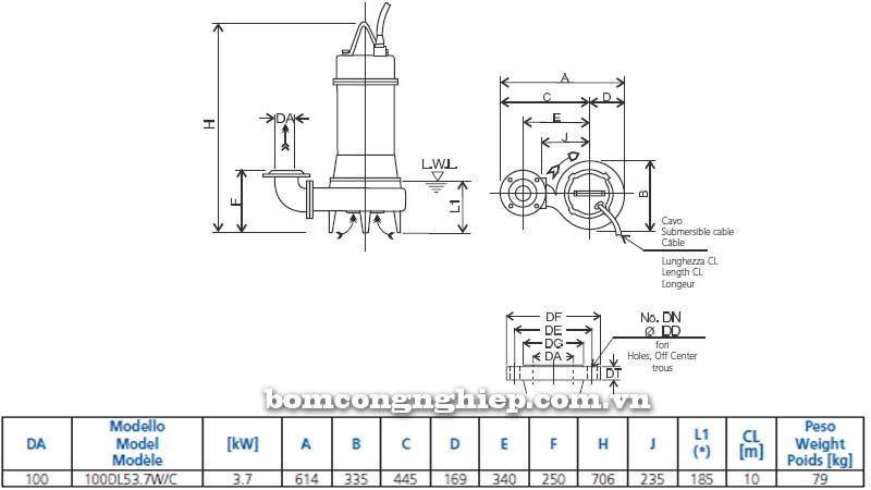 Máy bơm chìm nước thải Ebara 100DLW bảng thông số kích thước
