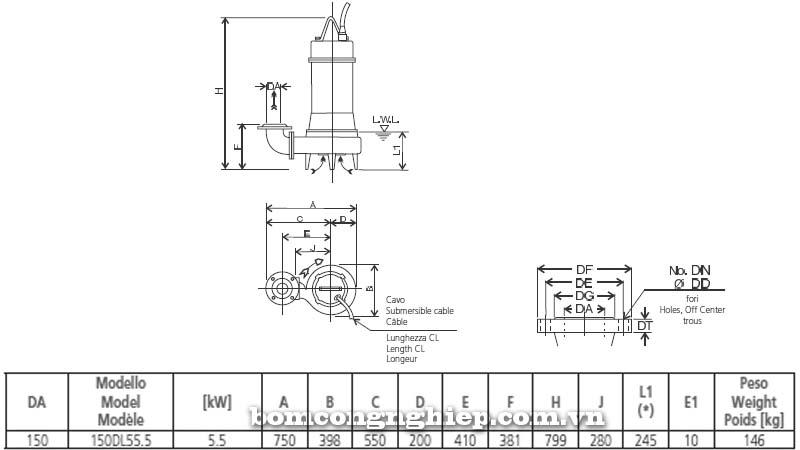 Máy bơm chìm nước thải Ebara 150DL5 bảng thông số kích thước