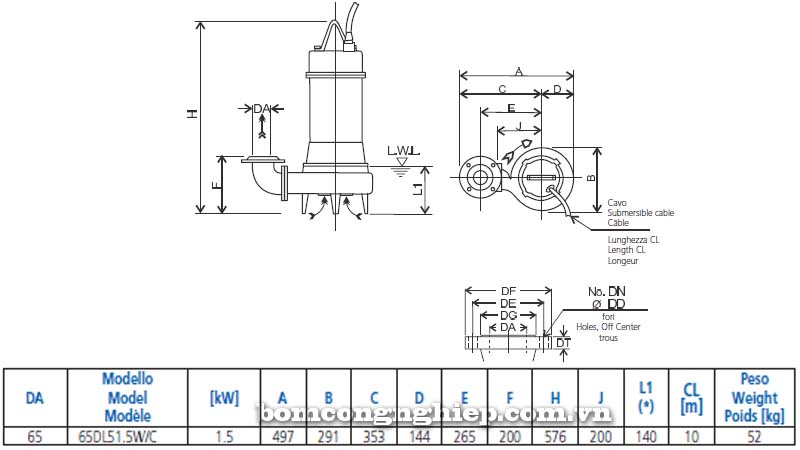 Máy bơm chìm nước thải Ebara 65DLW bảng thông số kích thước