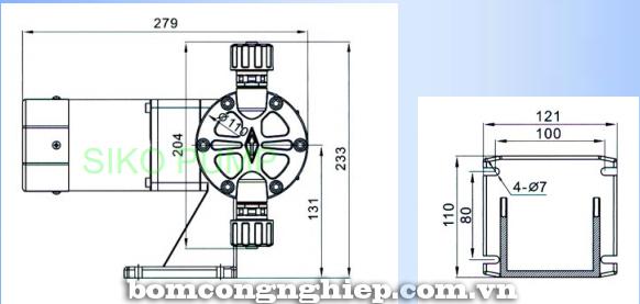 Bơm định lượng MPDT2 kích thước