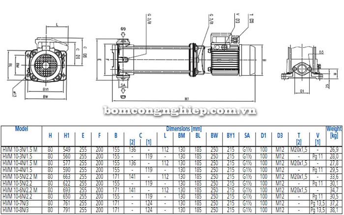 Máy bơm bù áp Ebara HVM 10 bảng thông số kích thước