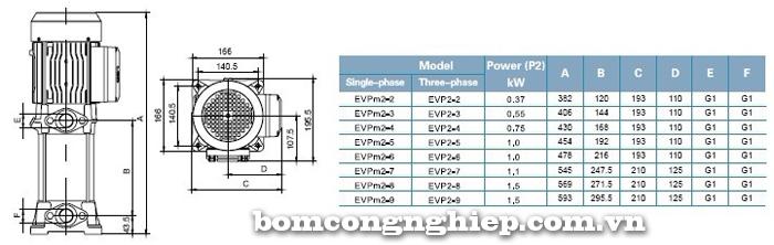 Máy bơm bù áp LEO Evp2 bảng thông số kích thước