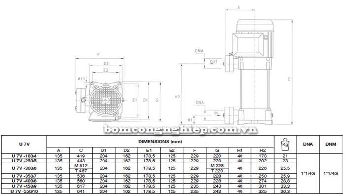 Máy bơm bù áp Pentax U7V bảng thông số kích thước