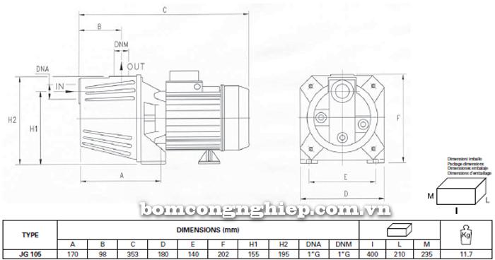 Máy bơm nước bán chân không Foras JG-105  bảng thông số kích thước